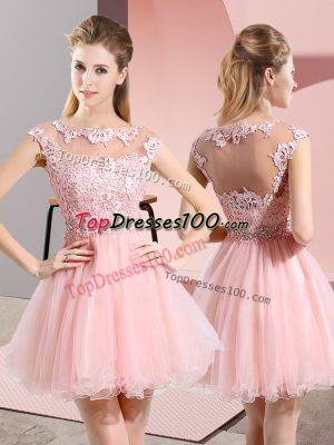 Dazzling Tulle Sleeveless Knee Length Bridesmaid Dress and Beading and Lace