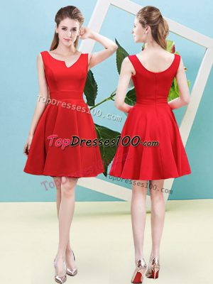 Amazing Red Sleeveless Mini Length Ruching Zipper Wedding Guest Dresses