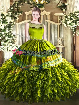 Fine Olive Green Ball Gowns Beading and Ruffles Ball Gown Prom Dress Zipper Organza and Taffeta Sleeveless Floor Length