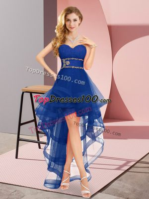 Sweet Royal Blue Tulle Lace Up Bridesmaid Gown Sleeveless High Low Beading