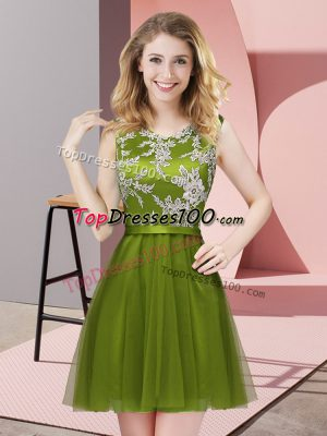 Mini Length Olive Green Quinceanera Dama Dress Halter Top Sleeveless Side Zipper