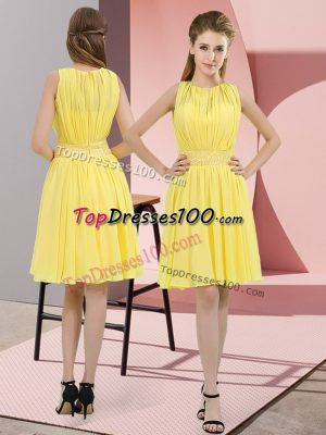 Latest Yellow Quinceanera Court of Honor Dress Prom and Party and Wedding Party with Sequins Scoop Sleeveless Zipper