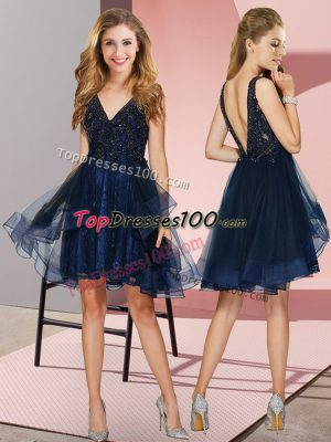 Navy Blue Sleeveless Appliques and Ruffles Knee Length Quinceanera Dama Dress