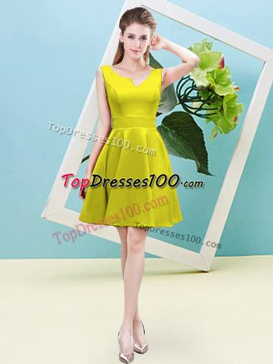 Yellow Sleeveless Ruching Mini Length Court Dresses for Sweet 16