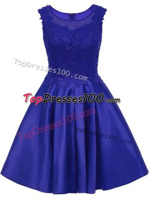 Fine A-line Bridesmaid Dress Blue Scoop Satin Sleeveless Mini Length Zipper