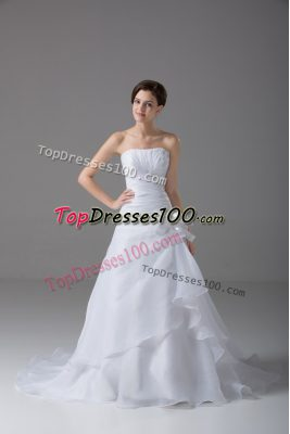 Hot Selling Hand Made Flower Wedding Gown White Lace Up Sleeveless Brush Train