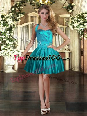 Elegant Teal Ball Gowns Ruching Prom Evening Gown Lace Up Satin Sleeveless Mini Length