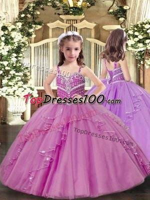 Fantastic Lilac Straps Neckline Beading and Ruffles High School Pageant Dress Sleeveless Lace Up