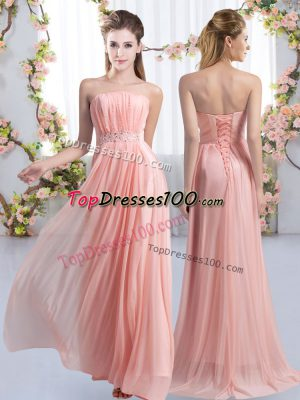 Beauteous Pink Lace Up Strapless Beading Bridesmaid Gown Chiffon Sleeveless Sweep Train