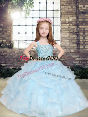Beading and Ruffles Little Girl Pageant Gowns Light Blue Lace Up Sleeveless Floor Length