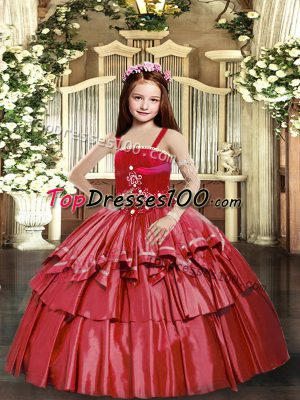 Red Taffeta Lace Up Straps Sleeveless Floor Length Pageant Gowns For Girls Beading and Ruffled Layers