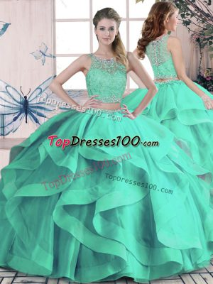 Floor Length Turquoise Quinceanera Dresses Scoop Sleeveless Lace Up