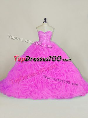 Glorious Organza Sleeveless 15 Quinceanera Dress Chapel Train and Beading and Ruffles
