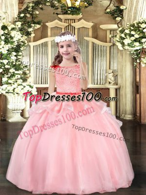 Hot Selling Baby Pink Ball Gowns Beading Girls Pageant Dresses Zipper Organza Sleeveless Floor Length
