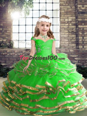 Low Price Ball Gowns Beading and Ruching Little Girl Pageant Gowns Lace Up Tulle Sleeveless High Low
