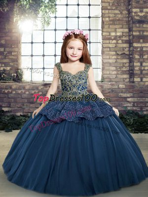 Navy Blue Ball Gowns Tulle Straps Sleeveless Beading and Appliques Floor Length Lace Up Kids Formal Wear