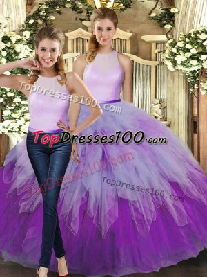 Multi-color Sleeveless Organza Backless Quinceanera Gown for Military Ball and Sweet 16 and Quinceanera