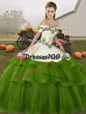 1c232cdd123 Olive Green Tulle Lace Up Sweet 16 Quinceanera Dress Sleeveless Brush Train  Embroidery and Ruffled Layers