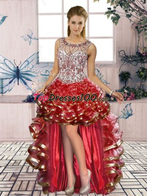 Scoop Sleeveless Homecoming Dress Online High Low Beading and Ruffled Layers Red Organza