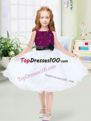 Clearance A-line Flower Girl Dresses for Less White Scoop Organza Sleeveless Knee Length Zipper