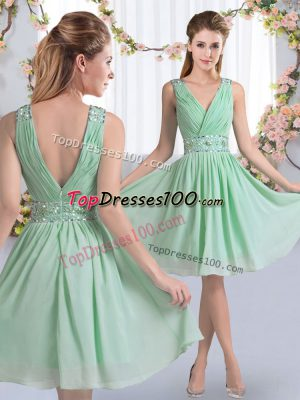 Sleeveless Knee Length Beading Zipper Bridesmaid Dresses with Apple Green