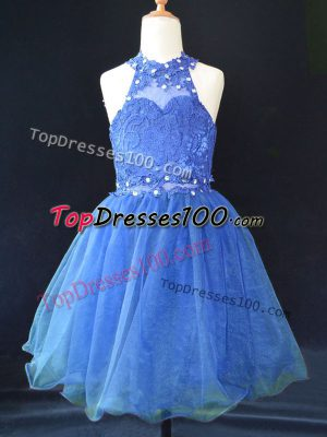 Blue Lace Up Glitz Pageant Dress Beading and Lace Sleeveless Mini Length