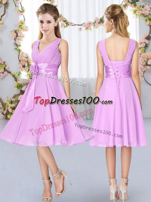Flirting Knee Length Lilac Wedding Party Dress V-neck Sleeveless Lace Up