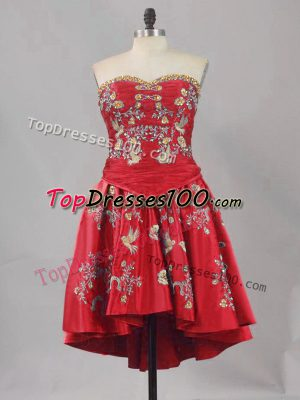 Custom Made Sweetheart Sleeveless Lace Up Homecoming Dresses Red Satin