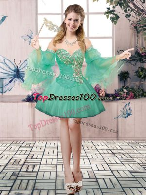 Graceful Sleeveless Lace Up Mini Length Beading