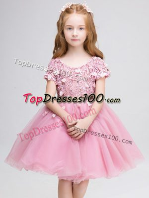 Suitable Mini Length Pink Flower Girl Dresses for Less Scoop Short Sleeves Lace Up
