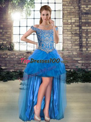 Great Blue Sleeveless High Low Beading and Ruffles Lace Up Homecoming Dresses
