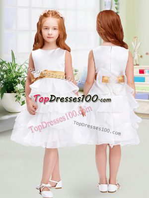 Attractive White Sleeveless Knee Length Ruffled Layers and Bowknot Zipper Flower Girl Dresses for Less