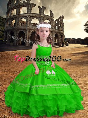Zipper Pageant Dress for Teens Embroidery and Ruffled Layers Sleeveless Floor Length