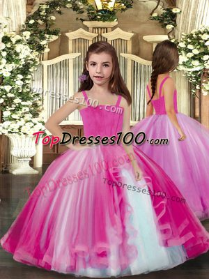 High Quality Floor Length Ball Gowns Sleeveless Lilac Pageant Dress Toddler Lace Up