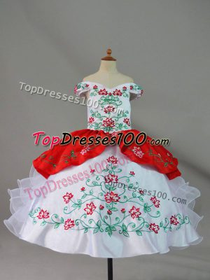 Custom Made Embroidery and Ruffles Pageant Dress for Teens White And Red Lace Up Sleeveless Floor Length