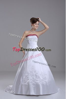 Amazing White Sleeveless Beading and Embroidery Lace Up Bridal Gown