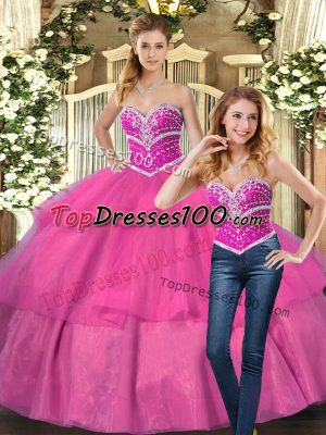 Hot Pink Sleeveless Floor Length Beading Lace Up Sweet 16 Dress