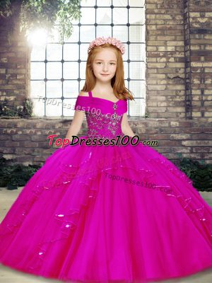 Amazing Tulle Sleeveless Floor Length Pageant Dress for Womens and Beading