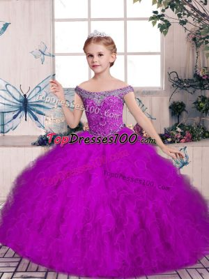 Sleeveless Tulle Floor Length Lace Up Pageant Dress for Girls in Purple with Beading and Ruffles