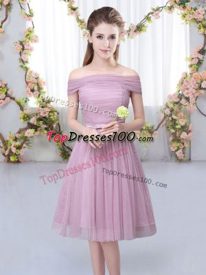 Trendy Pink Tulle Lace Up Wedding Guest Dresses Short Sleeves Knee Length Belt