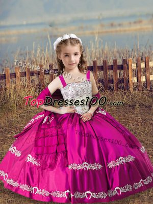Attractive Hot Pink Satin Lace Up Kids Formal Wear Sleeveless Floor Length Beading and Embroidery