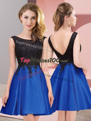 Elegant Satin Scoop Sleeveless Zipper Lace Bridesmaids Dress in Royal Blue