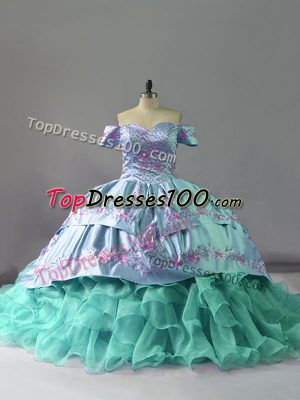 Sleeveless Chapel Train Embroidery and Ruffles Lace Up Quinceanera Dress