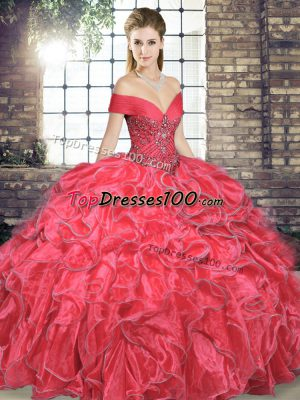7ebb863f98 Customized Coral Red Sleeveless Organza Lace Up 15th Birthday Dress for Military  Ball and Sweet 16