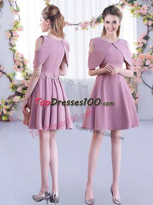 Customized Mini Length A-line Half Sleeves Pink Bridesmaid Dress Zipper