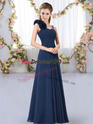 Decent Navy Blue Chiffon Lace Up Bridesmaid Dresses Sleeveless Floor Length Hand Made Flower