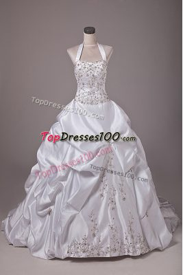 Eye-catching Taffeta Sleeveless Wedding Gowns Brush Train and Beading and Embroidery and Pick Ups