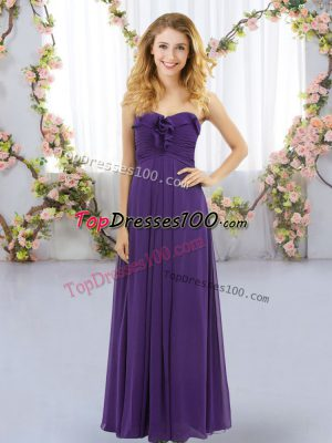 Sweetheart Sleeveless Wedding Guest Dresses Floor Length Ruffles Purple Chiffon