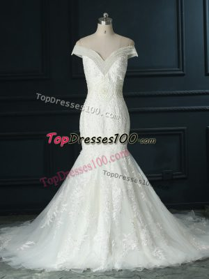 White Off The Shoulder Zipper Beading and Lace Wedding Gowns Court Train Sleeveless