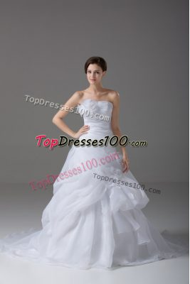 Beauteous White Organza Lace Up Strapless Sleeveless Wedding Gown Brush Train Pick Ups and Hand Made Flower